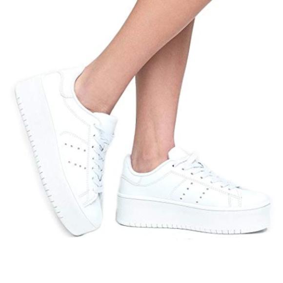 J Adams White Platform Sneakers